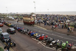 Happy Harold mingles with the Mayday Bikers on Hastings Seafront