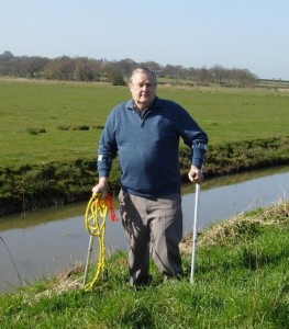 Dave pictured on the bank of the river at the spot where he used this rope to pull the car to the bank.