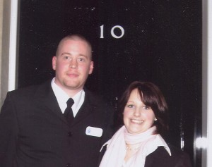 Dan Bevan with Jessica Neame at 10 Downing Street