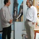 Michael Jon Preston with elephant artist Peter Jones