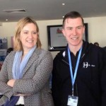 Amber Rudd MP with pav Bryan of the Wheelers. Watch out Amber, he will get you on a bike!