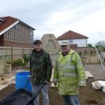 David Hughes supervising work at the new Aldington Memorial