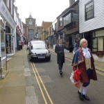 Jimper, escorted by the Town Crier, leaves Rye for the last time