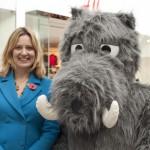 Rye MP  Home Secretary, Amber Rudd with 'Wild Boar'