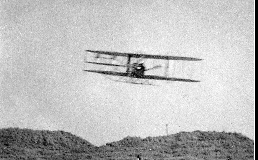 Wright Biplane Flying at Camber